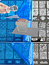 10pcs laco que estampa placa polones modelo de transferencia de arte de unha com selo transparente quadrado bc1-10