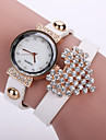 Femme Bracelet de Montre Montre Tendance Quartz Montre Decontractee Cuir Bande Fleur Noir Blanc Bleu Orange Marron Rose