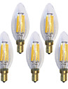E14 LED Filament Bulbs C35 6 COB 600 lm Warm White 2700 K Waterproof Decorative AC 220-240 V