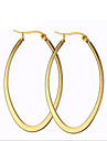 Women\'s Hoop Earrings Fashion Costume Jewelry Titanium Steel 18K gold Circle Oval Jewelry For Party Daily Casual