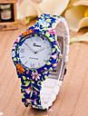 Women\'s Fashion Watch Quartz Hot Sale Plastic Band Flower Blue