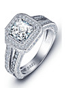 Luxurious Engagement Classic Square Cubic Zirconia Ring 925 Sterling Silver Rings Women Wedding Jewelry