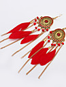 여성용 태슬 드랍 귀걸이 - 술, 보헤미안, 유럽의 블랙 / 레드 / 그린 제품 파티 일상 캐쥬얼