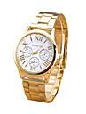 Mulheres Relógio de Moda Quartzo Relógio Casual Aço Inoxidável Banda Dourada Branco Preto