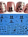 1 Autocollant d\'art de clou Bouts  pour ongles entiers Fleur Dessin Anime Adorable Mariage Maquillage cosmetique Nail Art Design