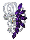 Women's Brooches Rhinestone Vintage Fashion Brooch Jewelry Purple Blue For Wedding Party Special Occasion Birthday Gift Daily