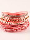Femme Bracelets en cuir Bracelets Boheme Mode Adorable Cuir Strass Imitation Diamant Alliage Forme Geometrique Bijoux Soiree Quotidien