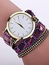 Women\'s Bohemian Style Fabric Band White Case Analog Quartz Bracelet Fashion Watch Strap Watch