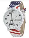 Mulheres Relogio de Moda Quartzo Relogio Casual Lega Banda Torre Eiffel Legal Branco Azul Vermelho Marrom Branco Marron Vermelho Azul