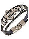 Men's Wrap Bracelet / Leather Bracelet - Leather Anchor Personalized, Basic, Punk Bracelet Black / Brown For Daily / Casual / Sports