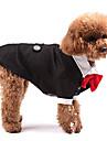 Собака Костюмы смокинг Одежда для собак Косплей Свадьба Сплошной цвет Черный