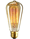 1pc 40W E26 / E27 ST64 Blanc Chaud 2300k Retro Intensite Reglable Decorative Ampoule incandescente Edison Vintage 220-240V