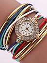 Mulheres Relógio de Moda Relógio de Pulso Bracele Relógio Quartzo Colorido Strass imitação de diamante PU Banda Vintage Brilhante Boêmio