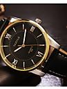 YAZOLE Men\'s Dress Watch Quartz Noctilucent Leather Band Charm Black Brown