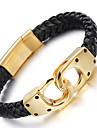 Homme Bracelets en cuir Mode bijoux de fantaisie Acier inoxydable Cuir Plaque or 18K or Forme Geometrique Infini Bijoux Pour Soiree