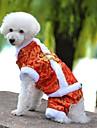 Chien Manteaux Combinaison-pantalon Vetements pour Chien Hiver Printemps/Automne Brodee Vacances Mode Nouvel An Jaune Rouge Bleu