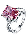 Women\'s Statement Ring Band Ring Synthetic Ruby Red Synthetic Gemstones Sterling Silver Zircon Imitation Diamond Heart Personalized Love