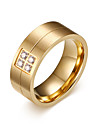 Men\'s Fashion Personality Simplicity 316L Titanium Steel Gold Ring Rhinestone Band Rings Casual/Daily Gift 1pc