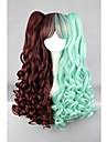 Perruque Synthetique Ondule Tresses Africaines Perruque tressee Vert Femme Sans bonnet Perruque Lolita Perruque de Cosplay Cheveux
