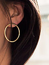 Women Fashion Simple Plain Vintage Alloy Circle Earrings 1pair
