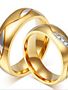 18 carat gold plating with micro couple ring Classical Feminine Style
