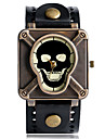 Men\'s Sport Watch Fashion Watch Unique Creative Watch Quartz Punk Leather Band Vintage Skull Camouflage Cool Casual Black Blue Red