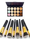 8pcs punho preto dourado maquiagem cosméticos conjunto de pincel&15 cores corretivo natural (2 cor corretivo escolher)