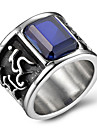 Men\'s Fashion 316L Titanium Steel Personality Vintage Jewel Agate Onyx Rings Casual/Daily Accessory 1pc