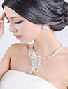 여성 보석 세트 합성 다이아몬드 신부 결혼식 파티 일상 모조 다이아몬드 합금 새 동물 1 목걸이 1 쌍의 귀걸이