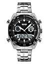 Men\'s Sport Watch Wrist Watch Digital Watch Digital Japanese Quartz 30 m Water Resistant / Water Proof Alarm Calendar / date / day Stainless Steel Band Analog-Digital Silver - Blue Black / Silver