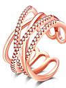Feminino Anel Dupla camada Joias de Luxo Europeu bijuterias Euramerican Estilo simples Strass Rosa Folheado a Ouro Imitacoes de Diamante