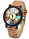 Women\'s Fashion Watch Wood Watch Quartz Colorful Wood Band Rainbow Multi-Colored