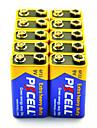 pkcell 6F22 9v batterie de zinc de carbone 10 pieces supplementaires lourds