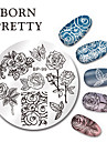 BORN PRETTY Round Nail Art Stamp Stamping Plates Template Butterfly Flower Design Image Plate Set 5.5cm BP-99