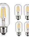 5pcs t45 4w e27 vintage led лампа накаливания теплый / холодный белый цвет трубчатый стиль ретро лампа edison ac220-240v