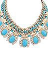 Feminino Colares Declaracao Formato Oval Resina Strass imitacao de diamante Liga Joias de Luxo Euramerican Moda Estilo bonito Europeu