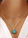 Жен. Ожерелья с подвесками Сплав Двойной слой Серебряный Бижутерия Для Повседневные 1шт