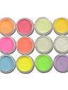 12 Stueck Acrylpulver / Glitzerpulver / Nagel Glitter Strahlend & Funkelnd / Leuchtet Im Dunkeln Nagel-Kunst-Design