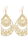 Hot Fashion Vintage Charm Plated Gold/Silver Retro Hollow Water Drop Earrings For Women Dangle Long Earrings Wedding Jewelry Accessories