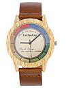 남성용 손목 시계 독특한 창조적 인 시계 캐쥬얼 시계 시계 나무 중국어 석영 / 나무의 가죽 밴드 멋진 캐쥬얼 블랙 브라운 카키
