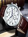 Men\'s Fashion Watch Wrist Watch Quartz Leather Brown Analog Casual - White Black