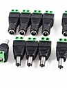 10 pack 2.1mm x 5.5mm dc plug for led strip cctv camera 5 male e 5 female