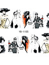 6pcs Nail Sticker Water Transfers Stickers Nail Decals SKETCH GIRL URBAN LADY FASHION SHOW ORIENTAL STYLE YB1105-1110