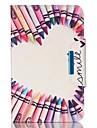 For Samsung Galaxy Tab A 9.7 Tab E 9.6 Case Cover Pencil Love Pattern PU Skin Material Samsung Flat Protective Shell  Tab A 8.0 Tab 3 Lite Tab 4 10.1