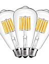 3PCS 10W 1000 lm E27 LED필라멘트 전구 ST64 10 LED가 COB 장식 따뜻한 화이트 AC 220-240V