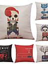 Set of 6 Cartoon Abstract  Pattern Linen Pillowcase Sofa Home Decor Cushion Cover  Throw Pillow Case (18*18inch)