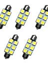 Lampe de dome de fete de voiture 5pcs 39mm 1w 6smd 5050 puce blanc 80-100lm 6500-7000k dc12v lampe de lecture lumieres plaque