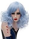 Perruque Synthetique Boucle Coupe Carre Gris Bleu Femme Sans bonnet Perruque Naturelle Moyen Cheveux Synthetiques