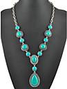 Femme Pendentif de collier Colliers Declaration Turquoise Forme Geometrique Goutte Bijoux Turquoise Alliage Basique Boheme Personnalise