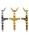Heavenly father Jesus cross titanium steel men pendant necklace pure steel chain
